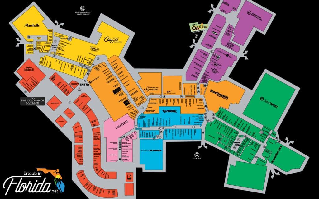 Übersichtskarte der Geschäfte vom Outlet Sawgrass Mills in Miami Fort Lauderdale