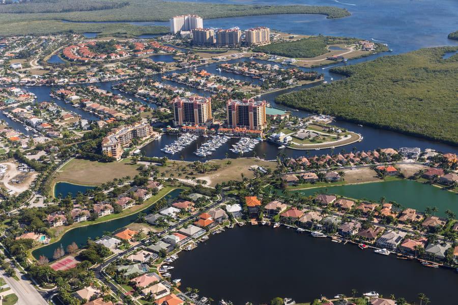 Cape Coral Florida Blick aus dem Flugzeug