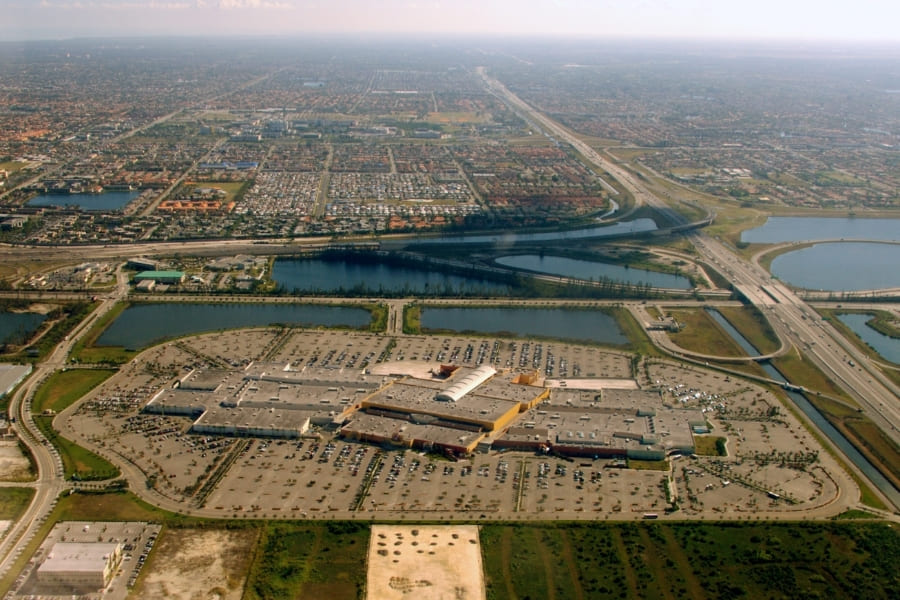 Dolphin Mall Miami Florida Aerial View