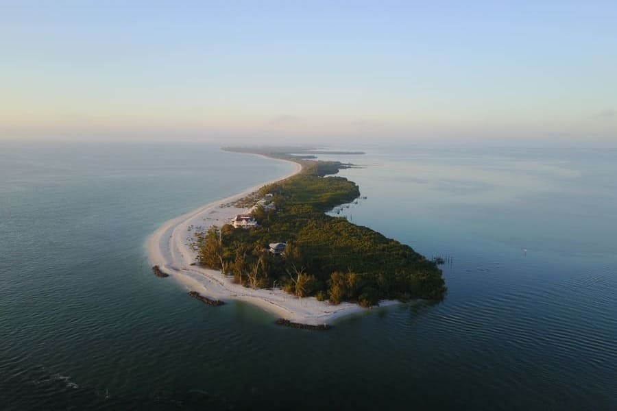 Sanibel Island Beach Florida Blick aus dem Flugzeug